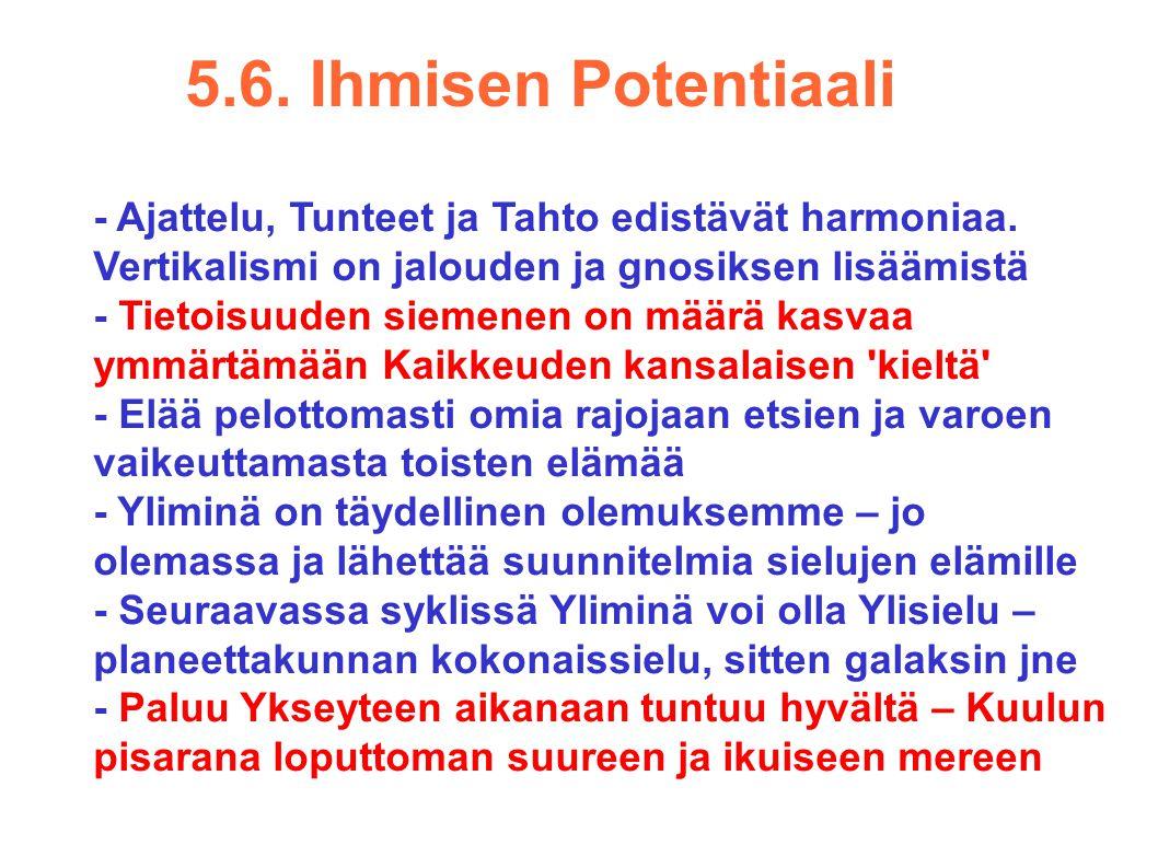 5.6. Ihmisen Potentiaali - Ajattelu, Tunteet ja Tahto edistävät harmoniaa. Vertikalismi on jalouden ja gnosiksen lisäämistä.