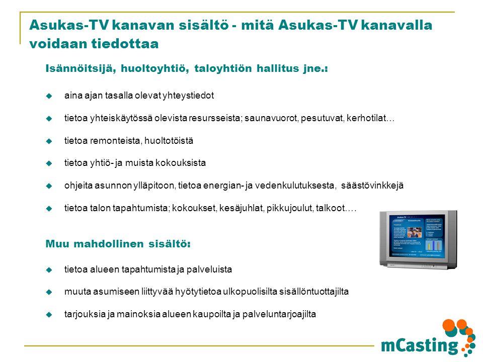 Asukas-TV kanavan sisältö - mitä Asukas-TV kanavalla voidaan tiedottaa