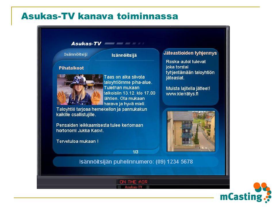 Asukas-TV kanava toiminnassa