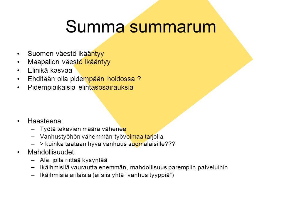 Summa summarum Suomen väestö ikääntyy Maapallon väestö ikääntyy