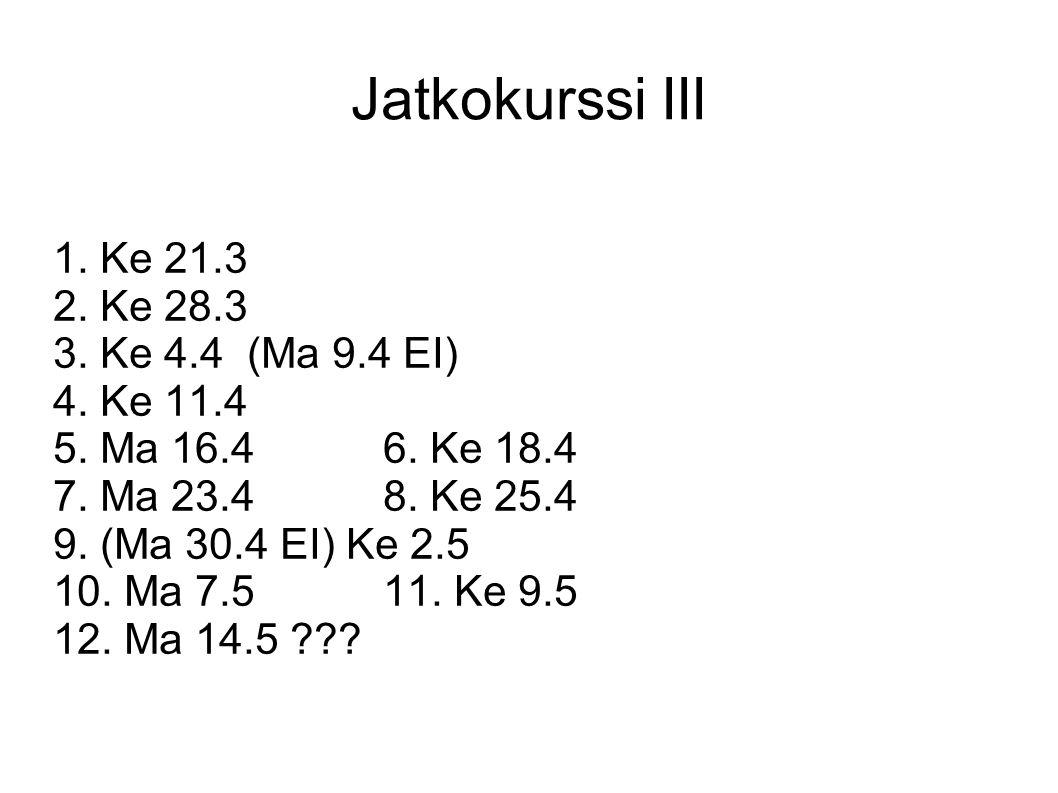 Jatkokurssi III 1. Ke 21.3 2. Ke 28.3 3. Ke 4.4 (Ma 9.4 EI) 4. Ke 11.4