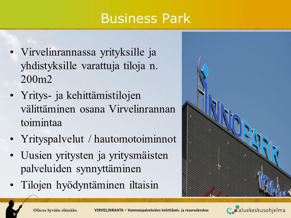 Business Park Virvelinrannassa yrityksille ja yhdistyksille varattuja tiloja n. 200m2.