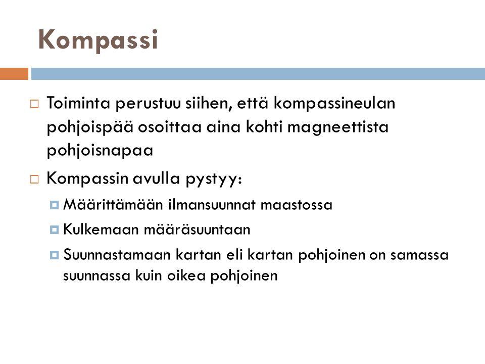 Kompassi Toiminta perustuu siihen, että kompassineulan pohjoispää osoittaa aina kohti magneettista pohjoisnapaa.