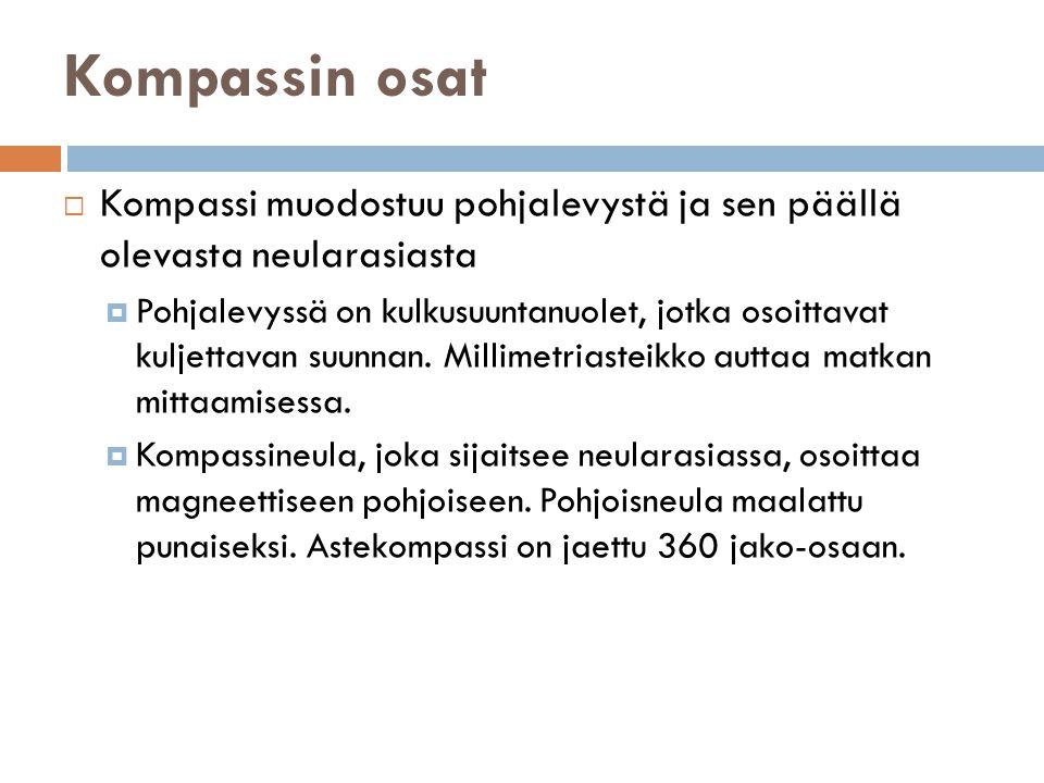 Kompassin osat Kompassi muodostuu pohjalevystä ja sen päällä olevasta neularasiasta.
