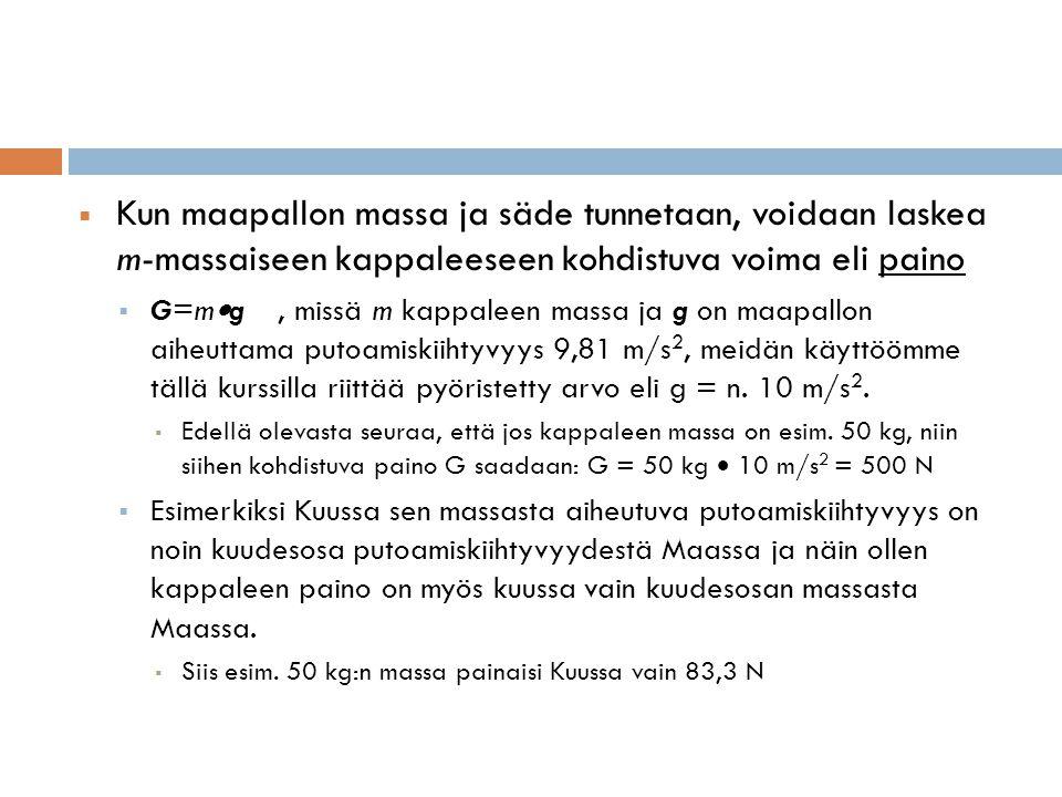 Kun maapallon massa ja säde tunnetaan, voidaan laskea m-massaiseen kappaleeseen kohdistuva voima eli paino