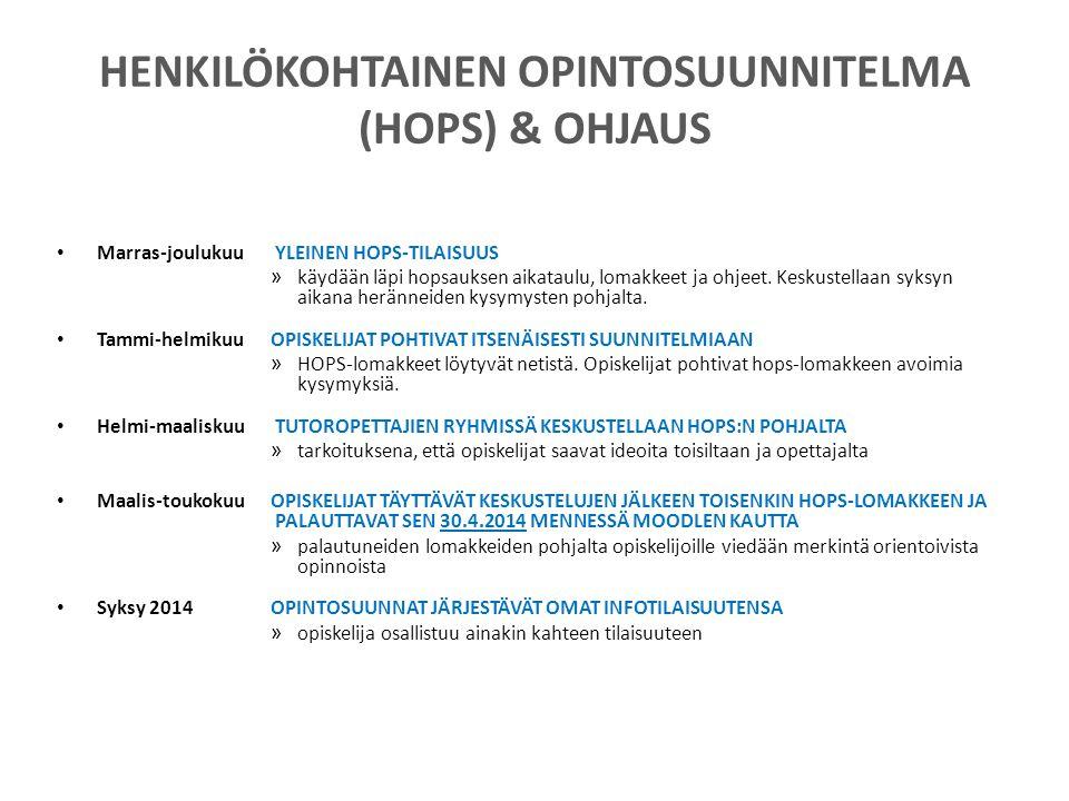 HENKILÖKOHTAINEN OPINTOSUUNNITELMA (HOPS) & OHJAUS