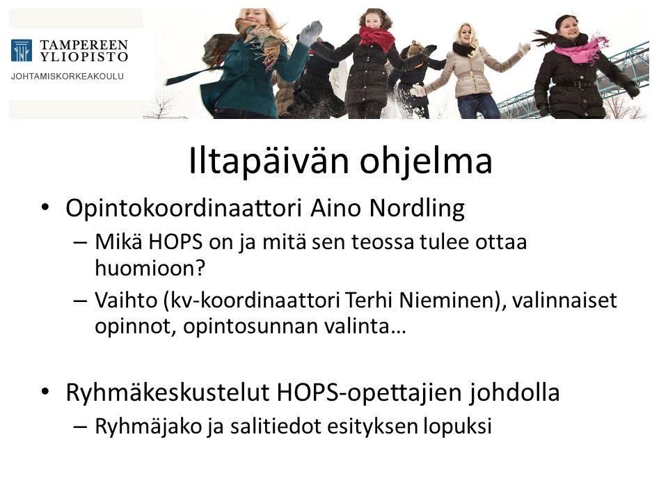 Iltapäivän ohjelma Opintokoordinaattori Aino Nordling