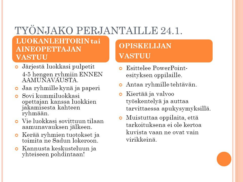 TYÖNJAKO PERJANTAILLE 24.1.