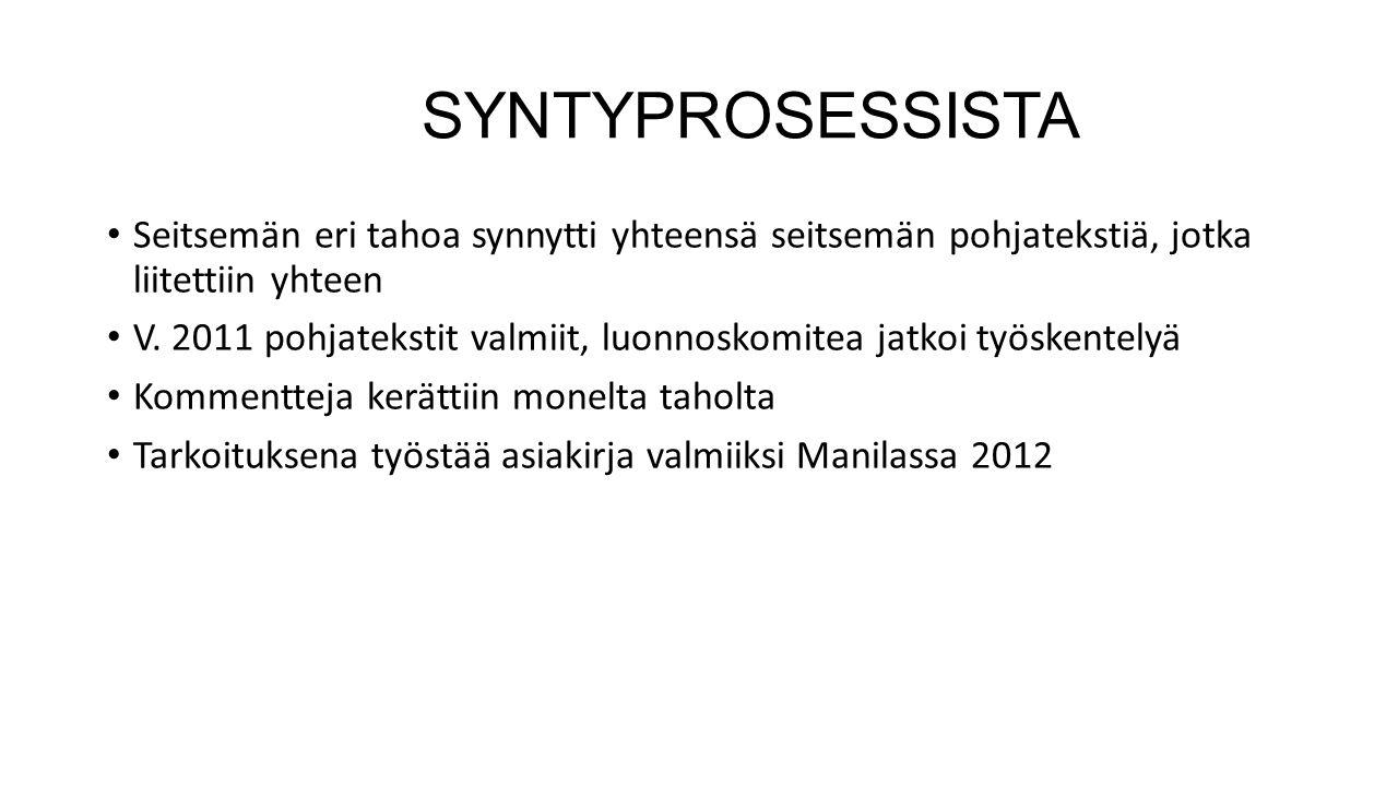 SYNTYPROSESSISTA Seitsemän eri tahoa synnytti yhteensä seitsemän pohjatekstiä, jotka liitettiin yhteen.
