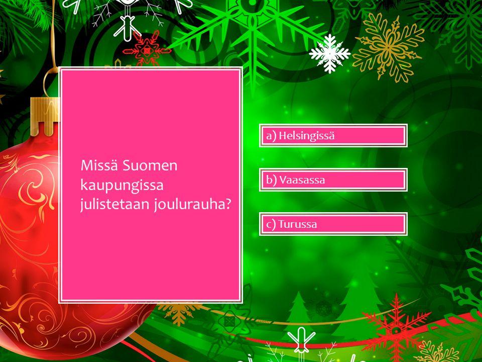 Missä Suomen kaupungissa julistetaan joulurauha
