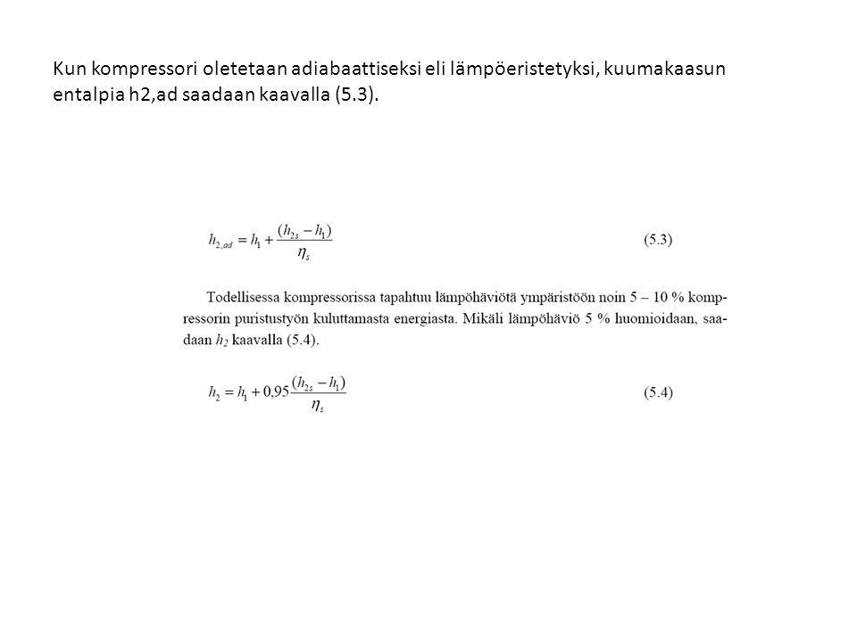 Kun kompressori oletetaan adiabaattiseksi eli lämpöeristetyksi, kuumakaasun entalpia h2,ad saadaan kaavalla (5.3).
