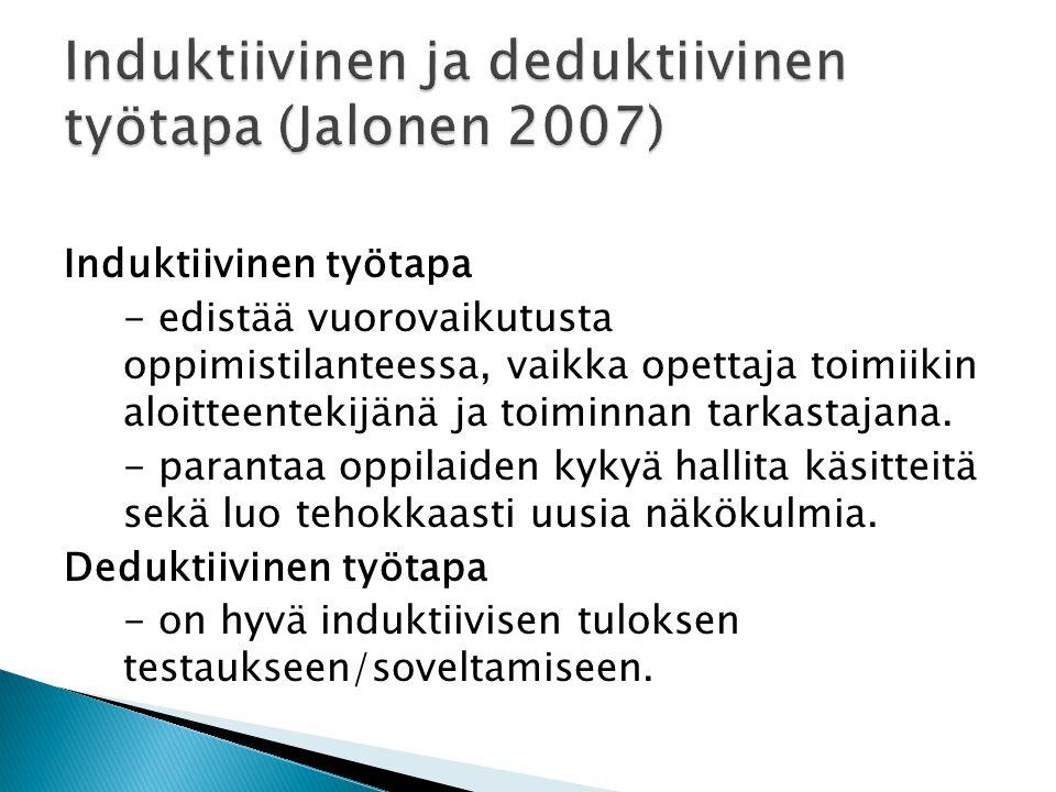 Induktiivinen ja deduktiivinen työtapa (Jalonen 2007)