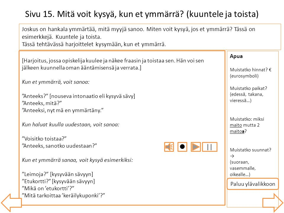 Sivu 15. Mitä voit kysyä, kun et ymmärrä (kuuntele ja toista)