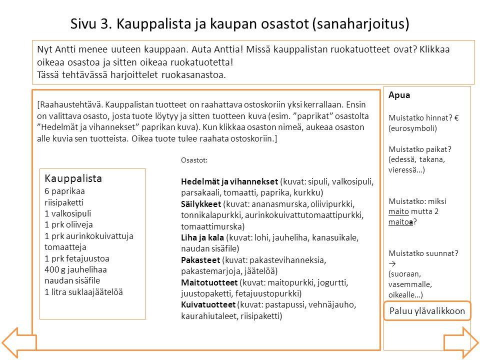 Sivu 3. Kauppalista ja kaupan osastot (sanaharjoitus)