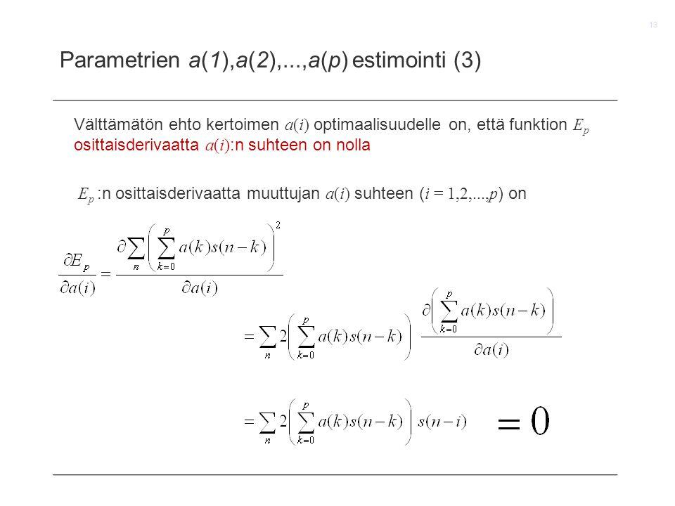Parametrien a(1),a(2),...,a(p) estimointi (3)
