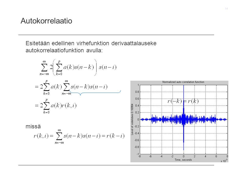 Autokorrelaatio Esitetään edellinen virhefunktion derivaattalauseke autokorrelaatiofunktion avulla: missä