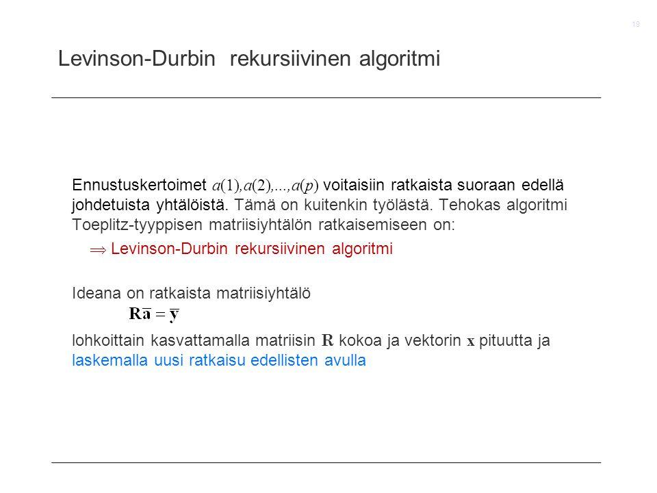 Levinson-Durbin rekursiivinen algoritmi