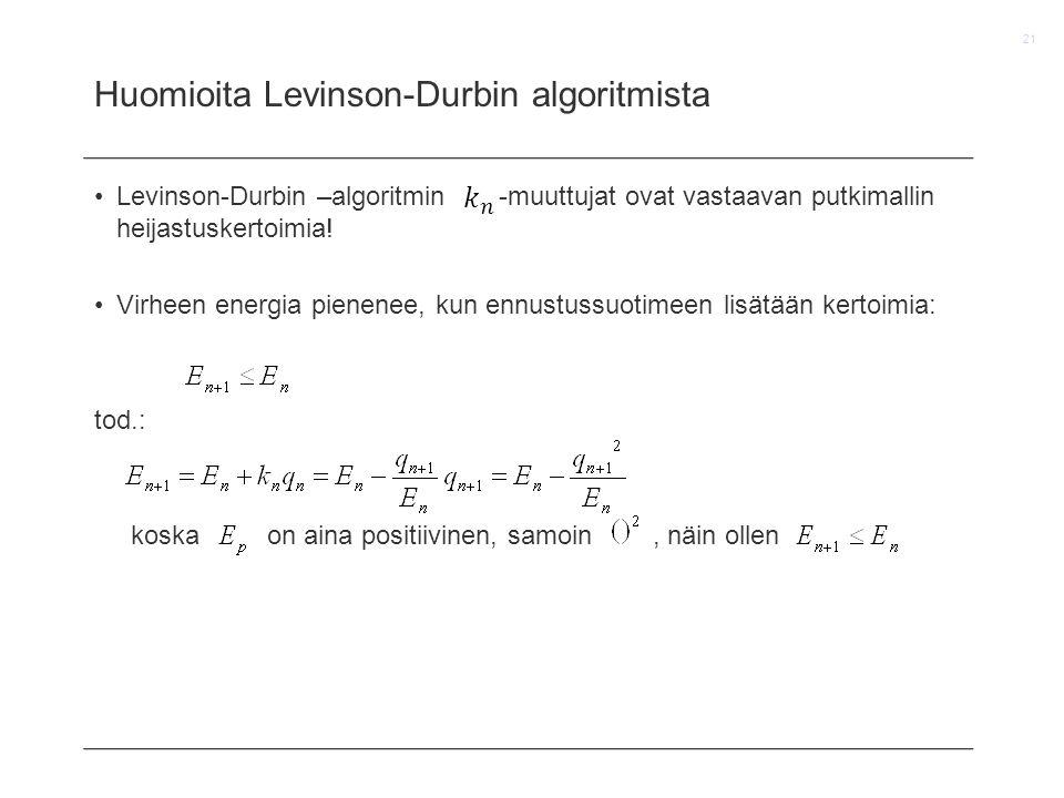 Huomioita Levinson-Durbin algoritmista