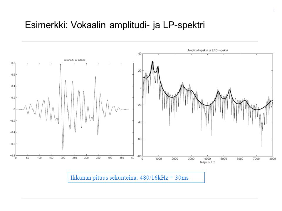 Esimerkki: Vokaalin amplitudi- ja LP-spektri