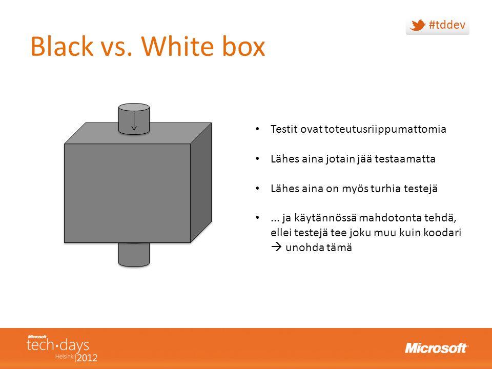 Black vs. White box Testit ovat toteutusriippumattomia