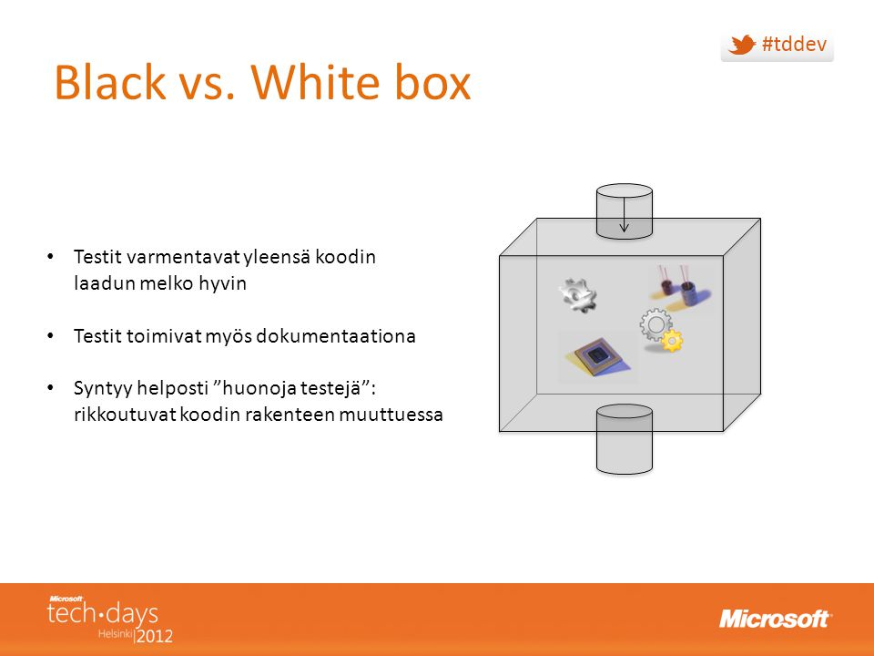 Black vs. White box Testit varmentavat yleensä koodin laadun melko hyvin. Testit toimivat myös dokumentaationa.