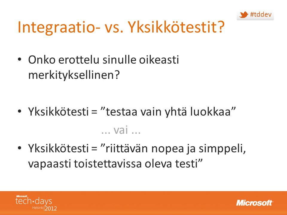 Integraatio- vs. Yksikkötestit