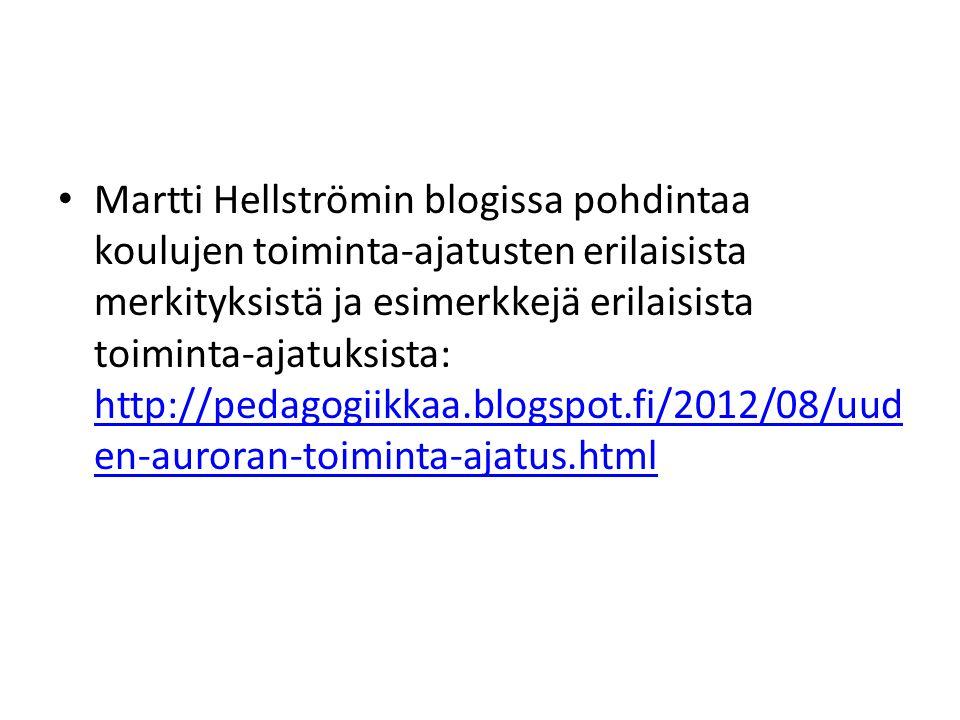 Martti Hellströmin blogissa pohdintaa koulujen toiminta-ajatusten erilaisista merkityksistä ja esimerkkejä erilaisista toiminta-ajatuksista: http://pedagogiikkaa.blogspot.fi/2012/08/uuden-auroran-toiminta-ajatus.html