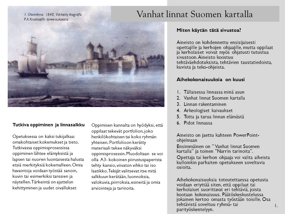 Vanhat linnat Suomen kartalla