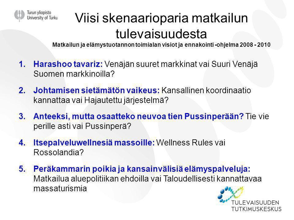Viisi skenaarioparia matkailun tulevaisuudesta Matkailun ja elämystuotannon toimialan visiot ja ennakointi -ohjelma 2008 - 2010
