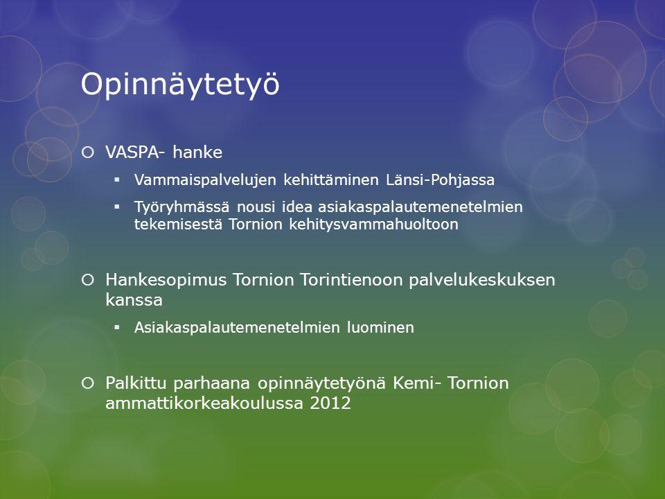 Opinnäytetyö VASPA- hanke