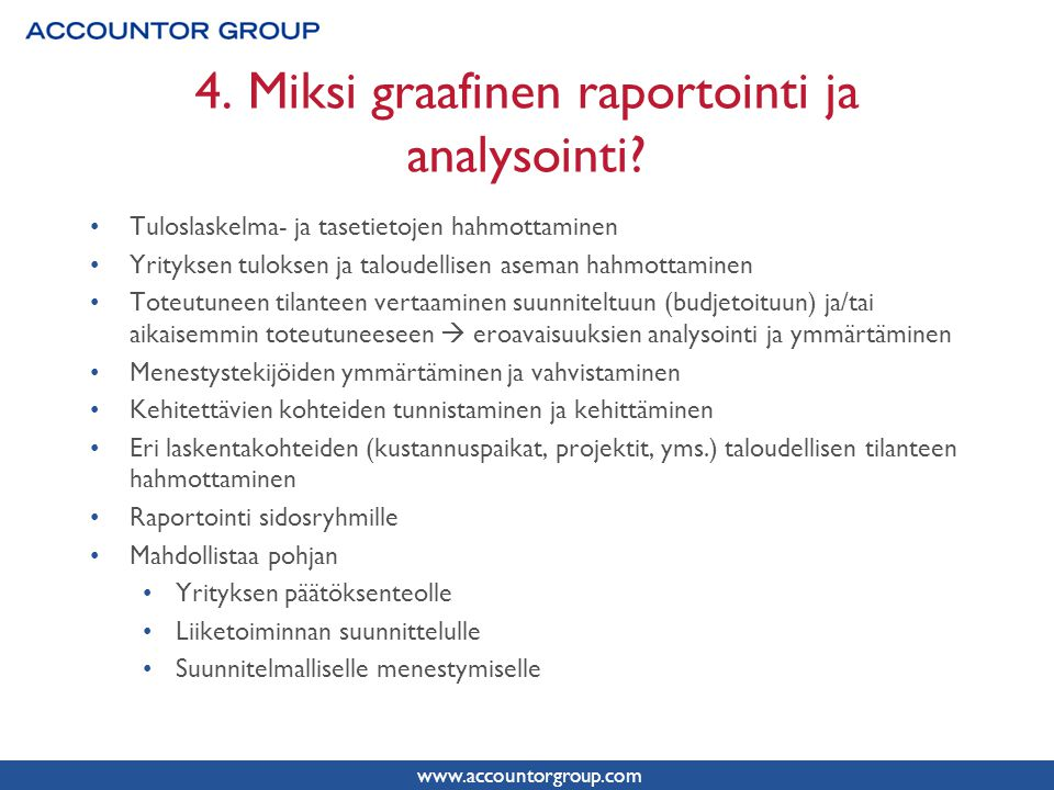 4. Miksi graafinen raportointi ja analysointi