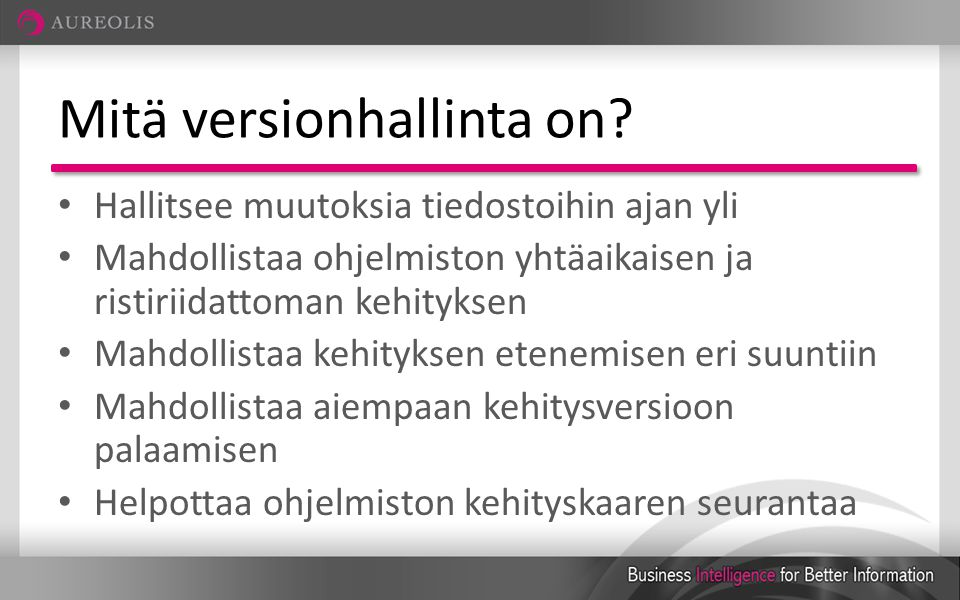 Mitä versionhallinta on