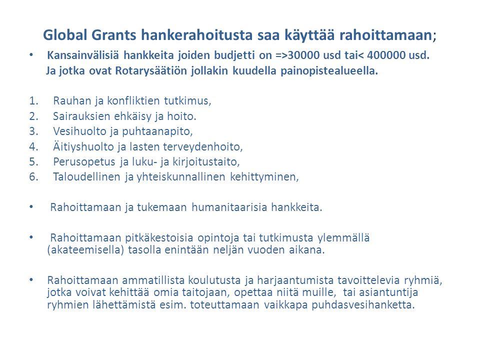 Global Grants hankerahoitusta saa käyttää rahoittamaan;