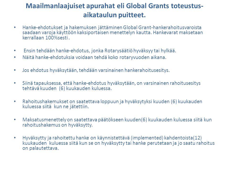 Maailmanlaajuiset apurahat eli Global Grants toteustus-aikataulun puitteet.