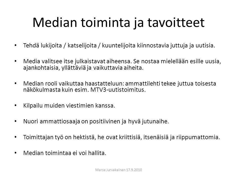 Median toiminta ja tavoitteet