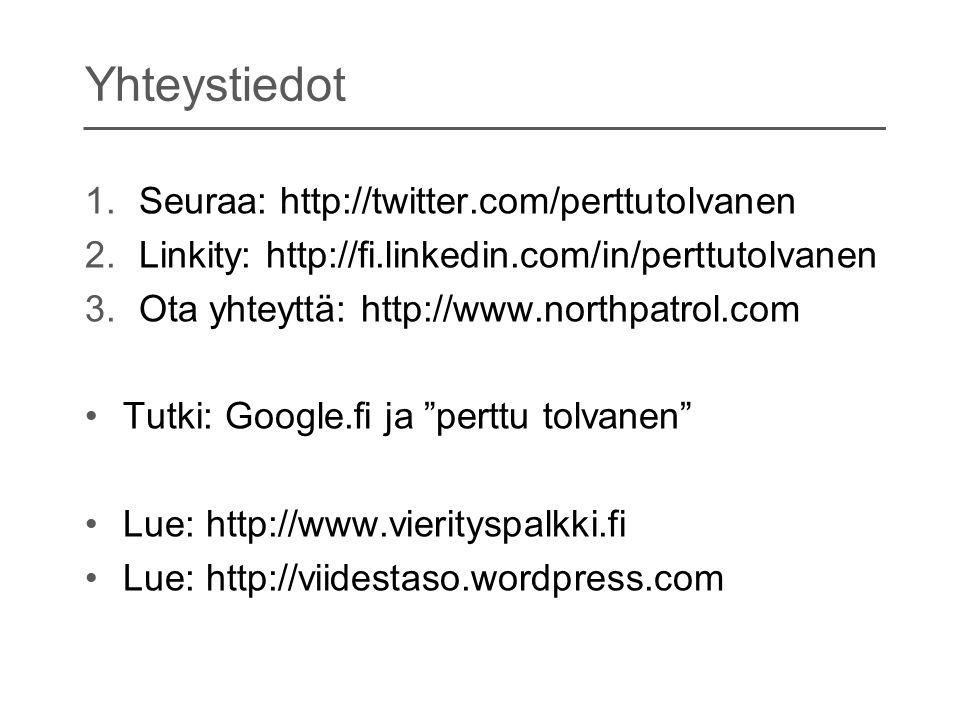 Yhteystiedot Seuraa: http://twitter.com/perttutolvanen