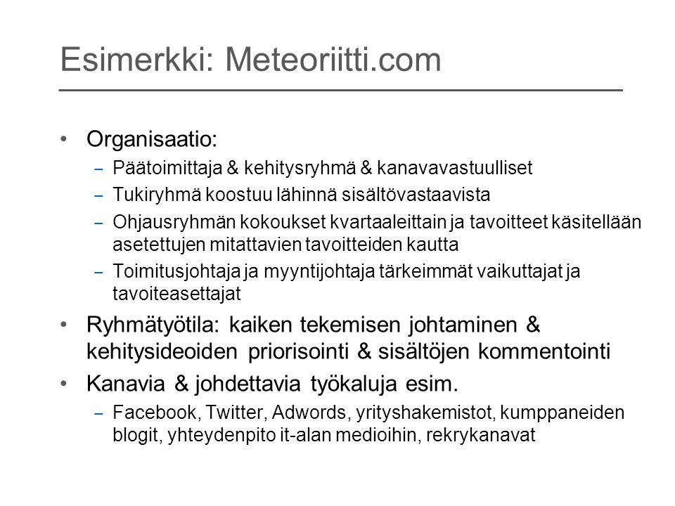 Esimerkki: Meteoriitti.com