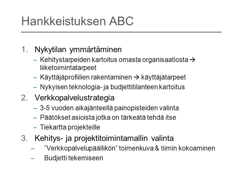 Hankkeistuksen ABC Nykytilan ymmärtäminen Verkkopalvelustrategia
