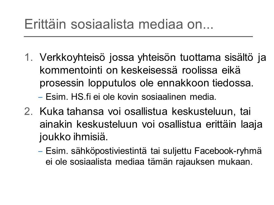 Erittäin sosiaalista mediaa on...