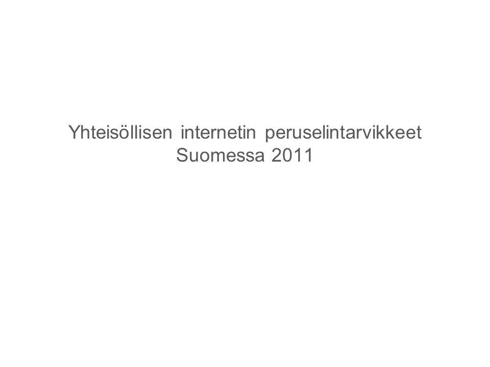 Yhteisöllisen internetin peruselintarvikkeet Suomessa 2011
