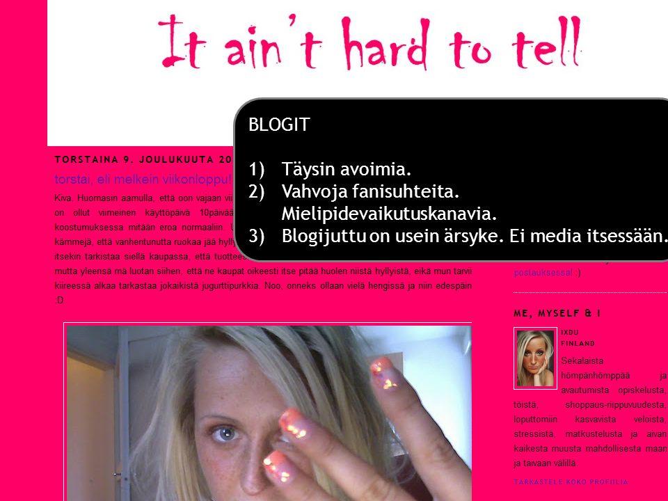 Blogit BLOGIT Täysin avoimia.