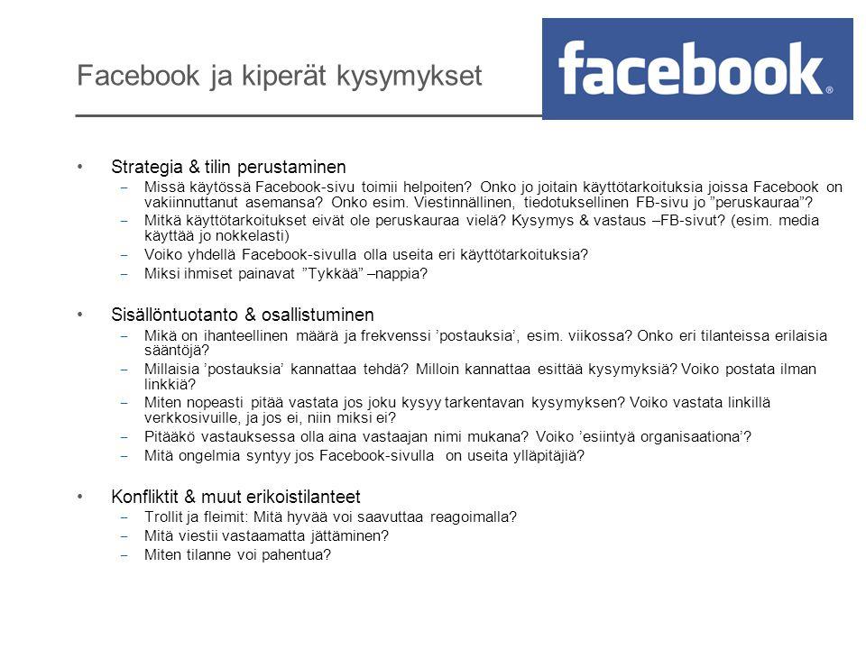 Facebook ja kiperät kysymykset