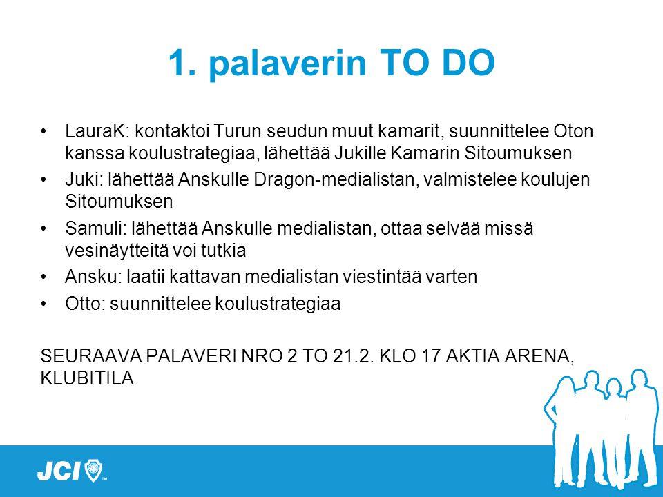 1. palaverin TO DO LauraK: kontaktoi Turun seudun muut kamarit, suunnittelee Oton kanssa koulustrategiaa, lähettää Jukille Kamarin Sitoumuksen.