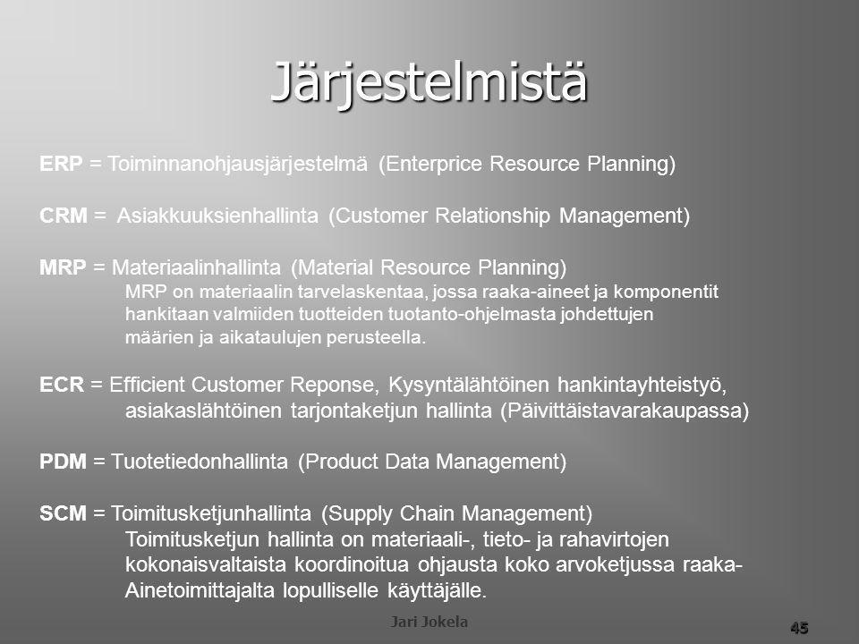 Järjestelmistä ERP = Toiminnanohjausjärjestelmä (Enterprice Resource Planning) CRM = Asiakkuuksienhallinta (Customer Relationship Management)