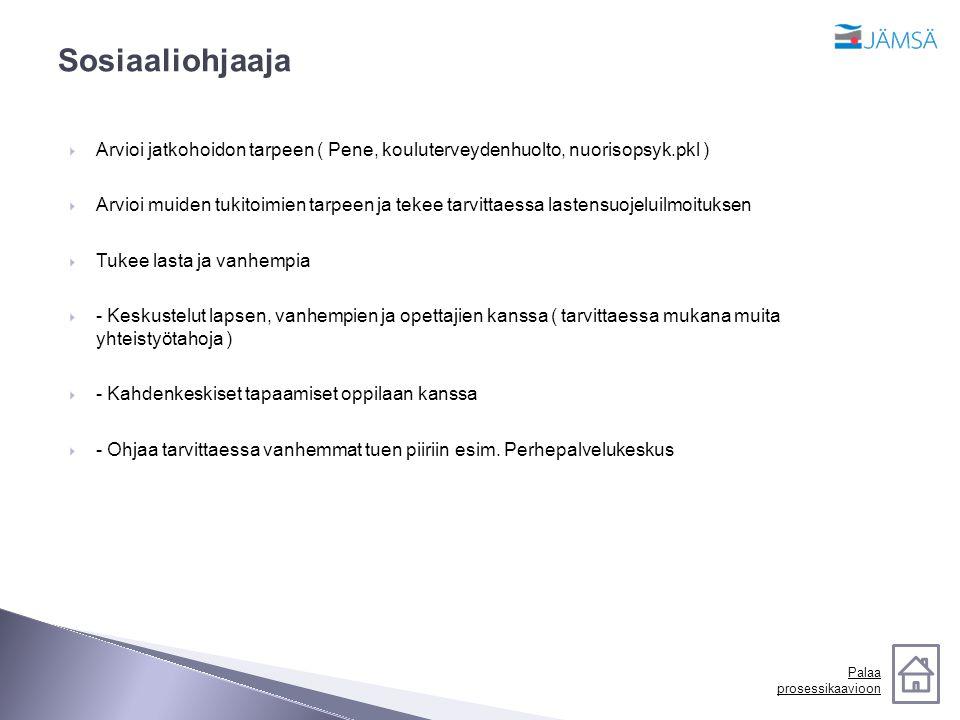 Sosiaaliohjaaja Arvioi jatkohoidon tarpeen ( Pene, kouluterveydenhuolto, nuorisopsyk.pkl )