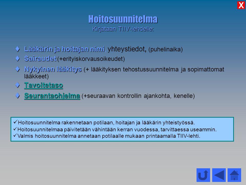 Hoitosuunnitelma Kirjataan TIIV-lehdelle: