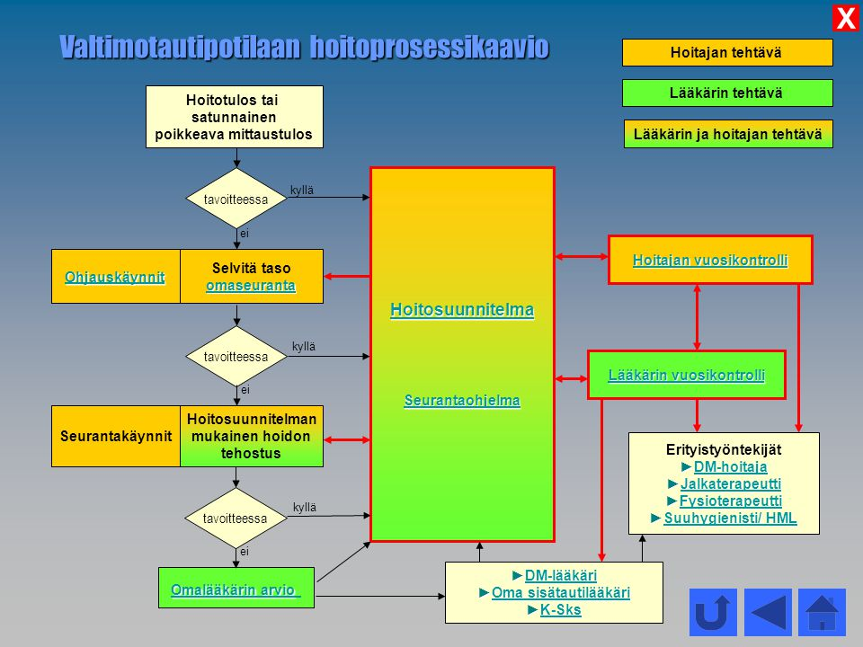 Valtimotautipotilaan hoitoprosessikaavio