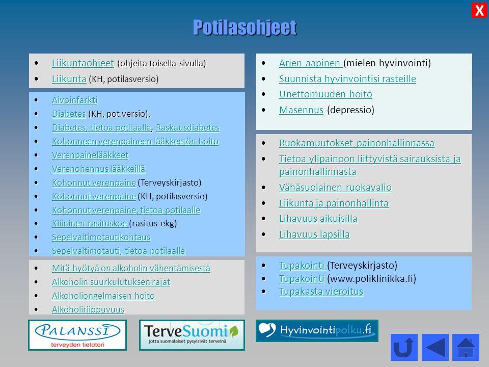 Potilasohjeet X Liikuntaohjeet (ohjeita toisella sivulla)