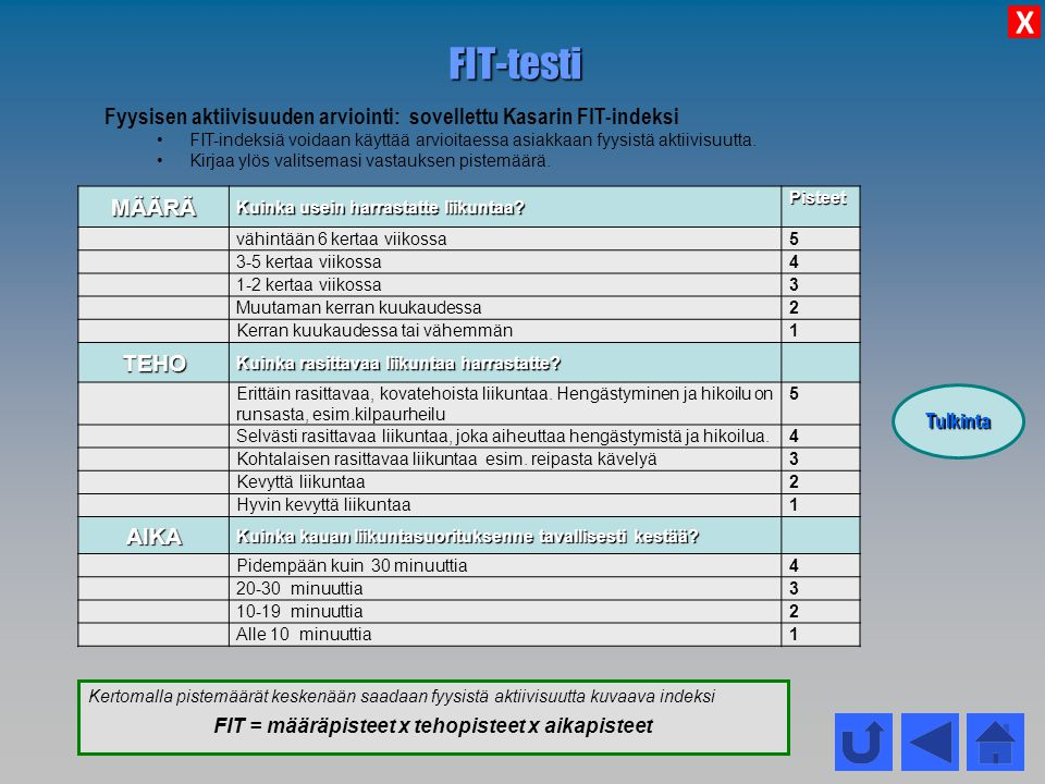FIT = määräpisteet x tehopisteet x aikapisteet