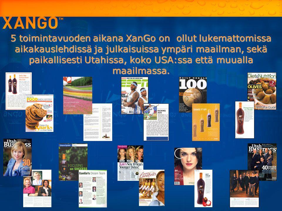5 toimintavuoden aikana XanGo on ollut lukemattomissa aikakauslehdissä ja julkaisuissa ympäri maailman, sekä paikallisesti Utahissa, koko USA:ssa että muualla maailmassa.